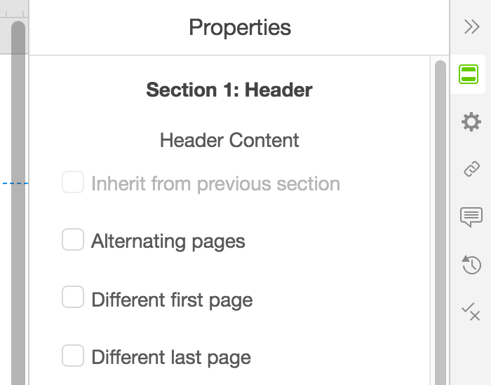 The header properties panel