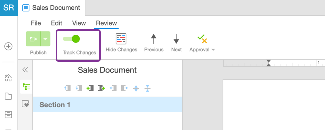 Track Changes in the Review toolbar