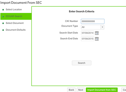Importing Documents from the SEC   Wdesk Help