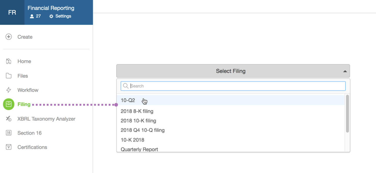 Go to Filing in your workspace to create or continue filings