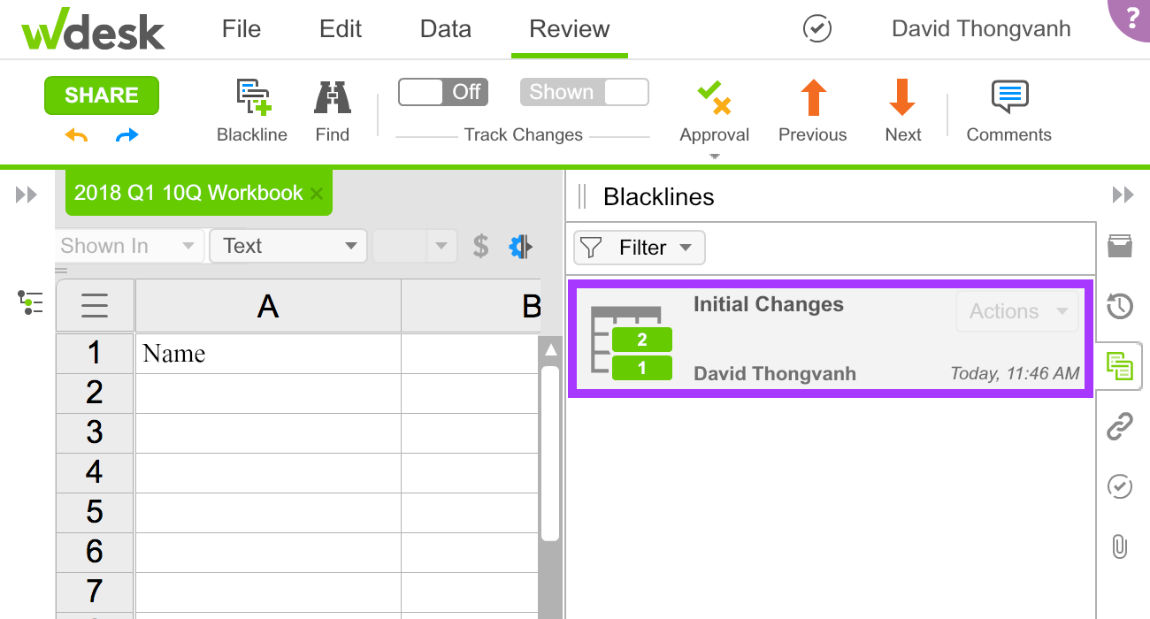 New blacklines appear in the blackline tab of the right-hand panel