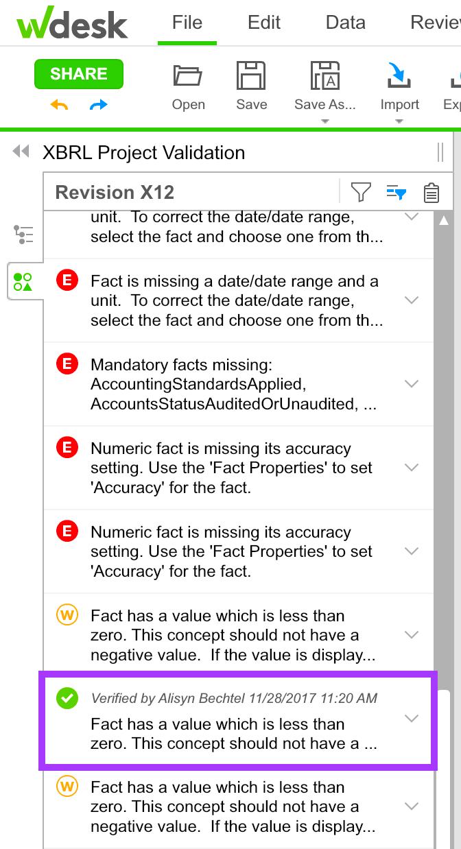 Verifying XBRL Validation Messages | Wdesk Help